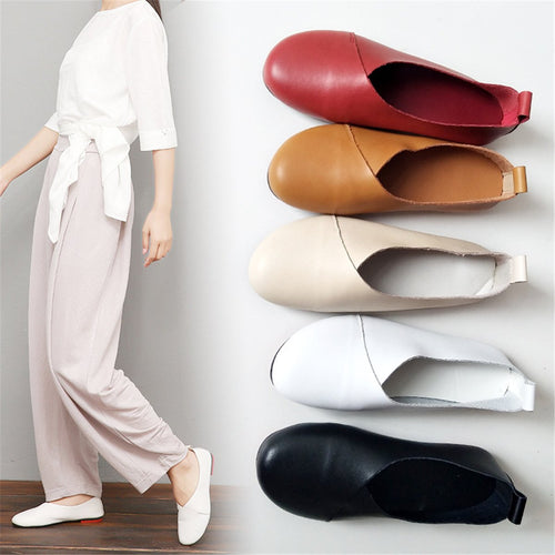Vintage Round Head Plain Soft Bottom Flat Shoes