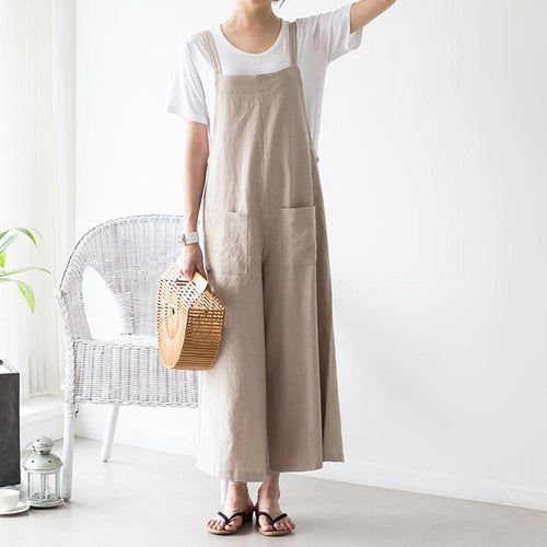 Casual Loose Plus Size   Pure Color Sling Wide Leg Jumpsuit