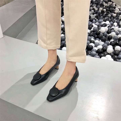 Elegant Fashion Pointed Head Plain Leather Flat Shoes