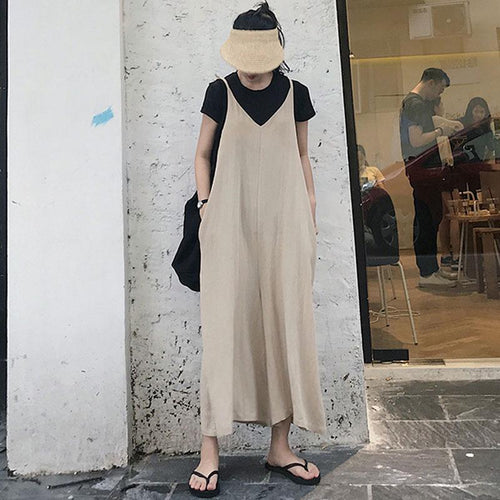 Casual Loose Sexy V   Neck Pure Color Sling Wide Leg Jumpsuit