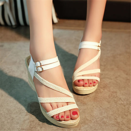 Fashion Plain Fish Mouth Wedge Heel Sandal