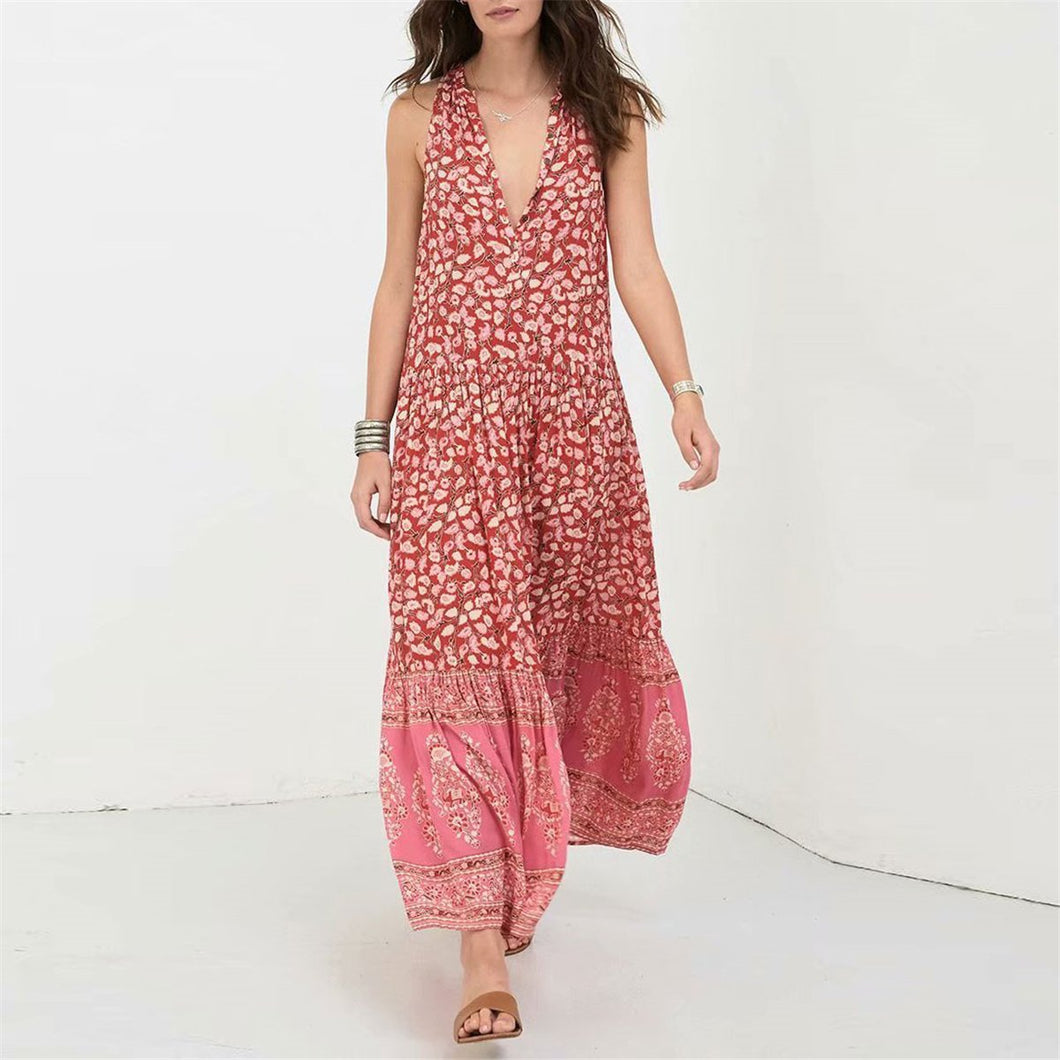 Bohemia Style Round Collar Floral Printed Vacation Dress