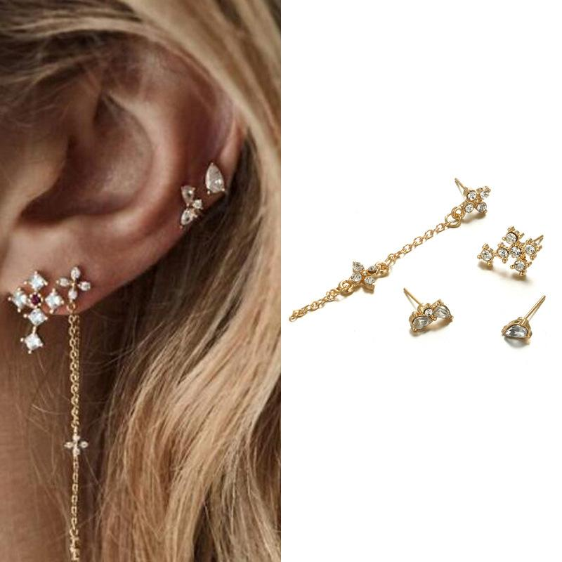 Vintage Fashion Water Diamond Chain Tassel Earrings  Geometry Drop Long Ear Nail Suit