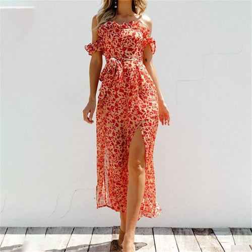 Summer Off Shoulder Floral Printed Belted Jumpsuit