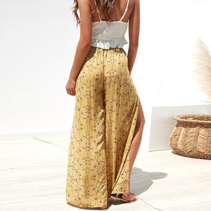 2019 New Floral Printed Slit Chiffon Wide Leg Pants