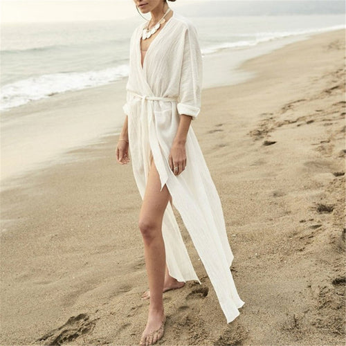 Casual V Collar Plain Belted Loose Vacation Dress
