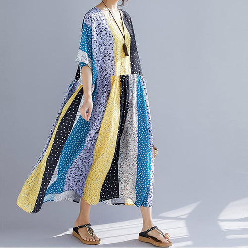 Casual Loose Short   Sleeve Wave Point Printing Spliced Maxi Dresses