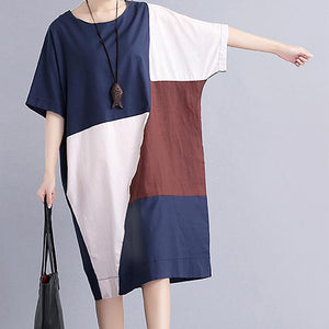 Casual Loose Plus Size Color Collision Splicing Maxi Dresses