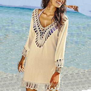 Sexy Deep V Collar Plain Hollow Fringe Vacation Dress