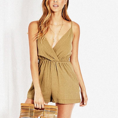Casual Sexy V Neck   Pure Color Sling Shorts Jumpsuit