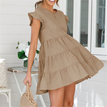 Load image into Gallery viewer, Lovely Plain Round Collar Loose Flounce Embellished Vacation Dress