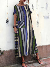 Load image into Gallery viewer, Cotton And Linen Striped Printed Dresses For Women