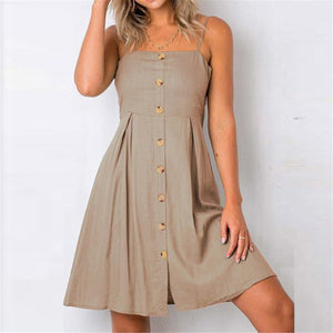Casual Plain Slim Button Embellished Vacation Dress