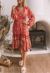 Printed Long Sleeve Maxi Dress