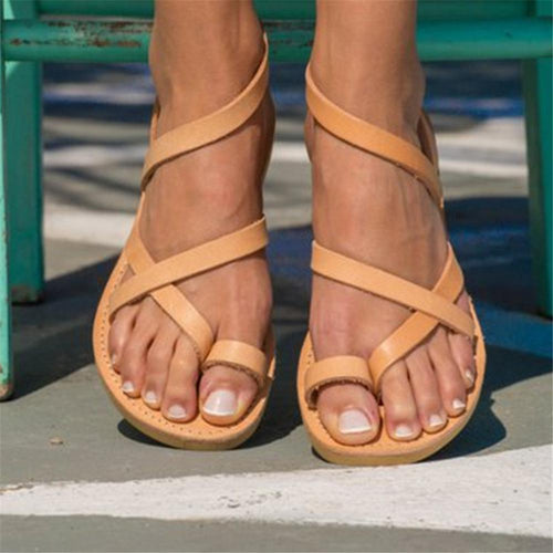 Fashion Open Toe Plain Hollw Flat Sandal