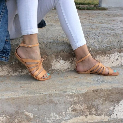 Vintage Plain Hollow Strappy Bow Decorated Flat Sandal