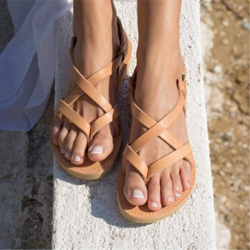 Daily Round Head Plain Cross Strap Flat Sandal