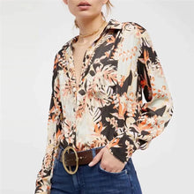 Load image into Gallery viewer, Bohamia Style Lapel Floral Printed Silk Shirt