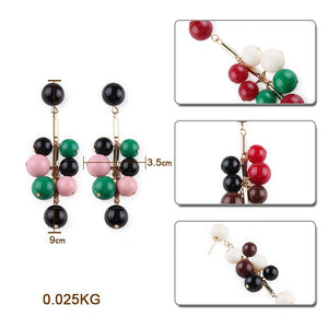Fashion Color Bead Drop Earrings