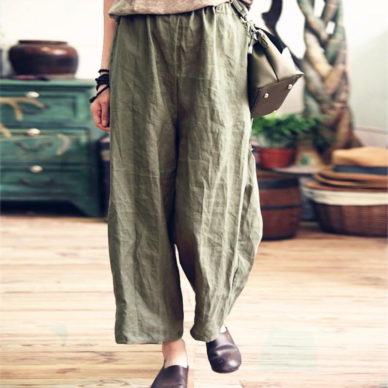 Daily Plain Casual Loose Cotton And Linen Wide Leg