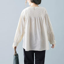 Load image into Gallery viewer, Casual Round Neck Embroidery Split Joint Loose Top