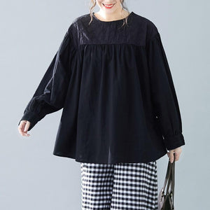 Casual Round Neck Embroidery Split Joint Loose Top