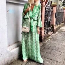 Load image into Gallery viewer, Fashion V Neck Printed Colour Belted Maxi Dresses