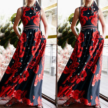Load image into Gallery viewer, Fashion Printed Colour Sleeveless Round Neck Maxi Dresses