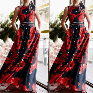Fashion Printed Colour Sleeveless Round Neck Maxi Dresses