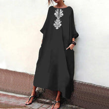 Load image into Gallery viewer, Casual Printed Colour Loose Halflong Sleeve Maxi Dresses
