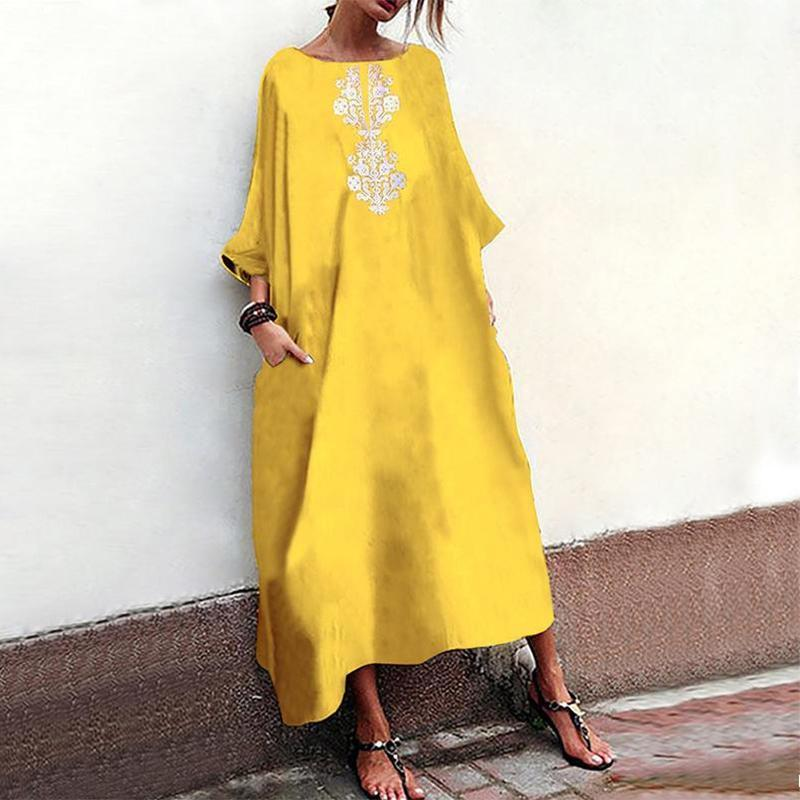 Casual Printed Colour Loose Halflong Sleeve Maxi Dresses