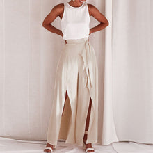 Load image into Gallery viewer, Commuting High-Waist Belted Slit Wide-Leg Trousers