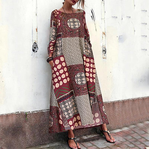 Vintage Splicing Round Neck Printed Colour Halflong Sleeve Dress