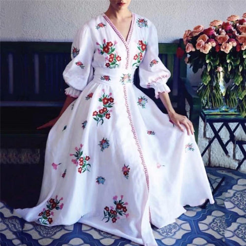 Summer Embroidery Single Breasted  Frenulum Vacation Maxi Dress