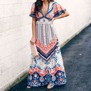 Ethnic Style V-Neck   Short-Sleeved Printed Maxi Dress