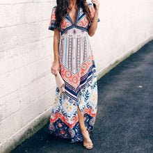 Load image into Gallery viewer, Ethnic Style V-Neck   Short-Sleeved Printed Maxi Dress