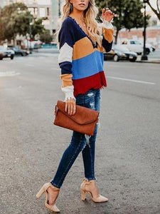 V Neck Color Block Long Sleeve Stripes Sweaters