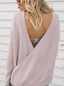Sexy Deep V Collar Reversible Knit Plain Sweater