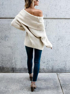 Pure Color Baggy Big   Lapel Long Sweater