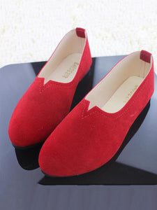 Big Size Suede Candy Color Round Toe Flat Shoes