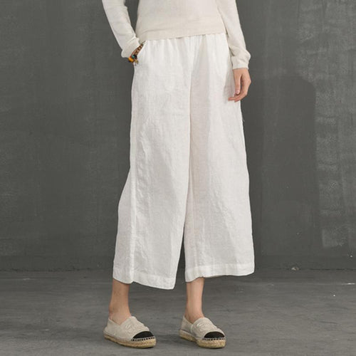 Casual Plain Flax Wide-Leg Pants