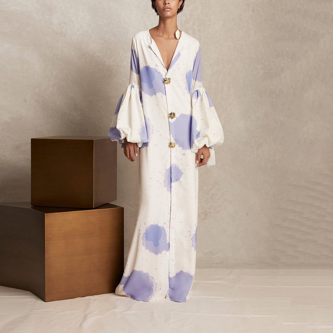 V Collar Long-Sleeved Printing Loose Casual Maxi Shift Dress