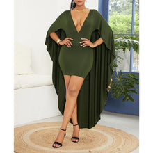 Load image into Gallery viewer, Casual Deep V Bat Sleeve Pure Colour Irregular Bodycon Dress