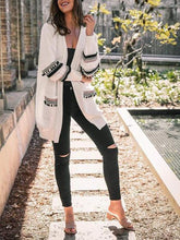 Load image into Gallery viewer, Fashion Splicing Long-Sleeved Women's Long Cardigan Sweater