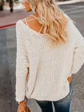 Load image into Gallery viewer, Pure Color Double V Open Shoulder Sweater