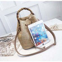 Load image into Gallery viewer, Pruning Bamboo Section Hand Bucket Braided Single Shoulder Oblique Span Bag