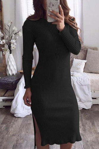Casual Sexy round neck slim long sleeve knit Bodycon dress