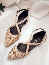 Load image into Gallery viewer, Cross Strap Fashion Point Shoes Wild Flat Star Rhinestone Sandals