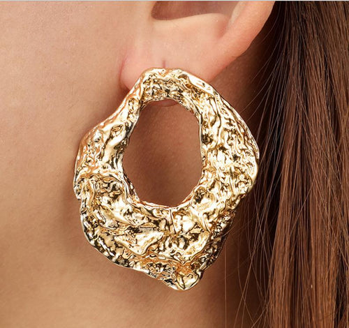 Irregular Geometric Texture Hollow Fashion Earrings Earrings