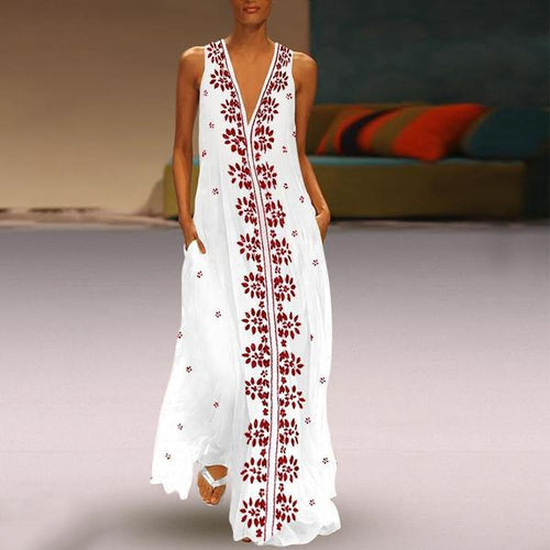 Dark V-Neck Cotton/Linen Printed Maxi Dress Vintage Dress